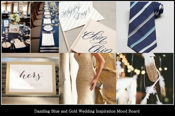 Dazzling Blue and Gold Mood Board From Events bl L Wedding Planning