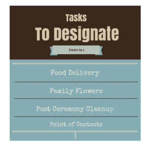 Wedding Tasks to Designate, Events by L